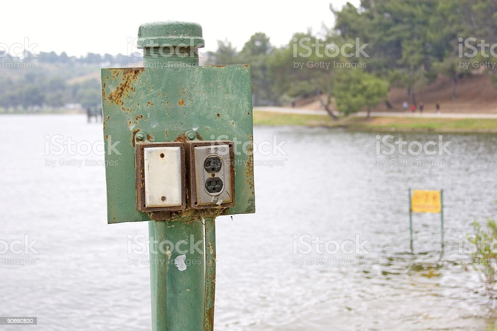 outdoor electric socket stock photo