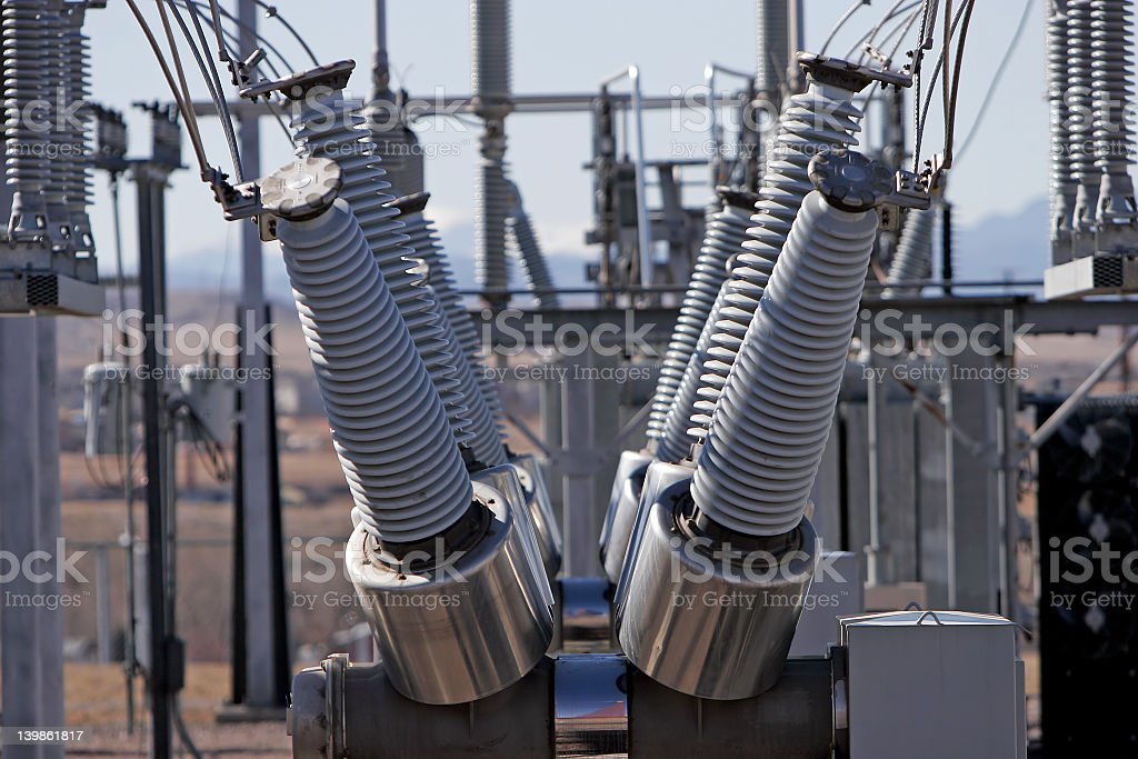 Outdoor electrical power station stock photo