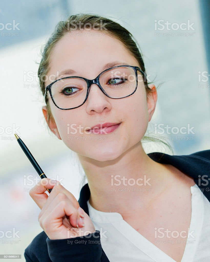 Outdoor expressive portrait of young executive royalty-free stock photo