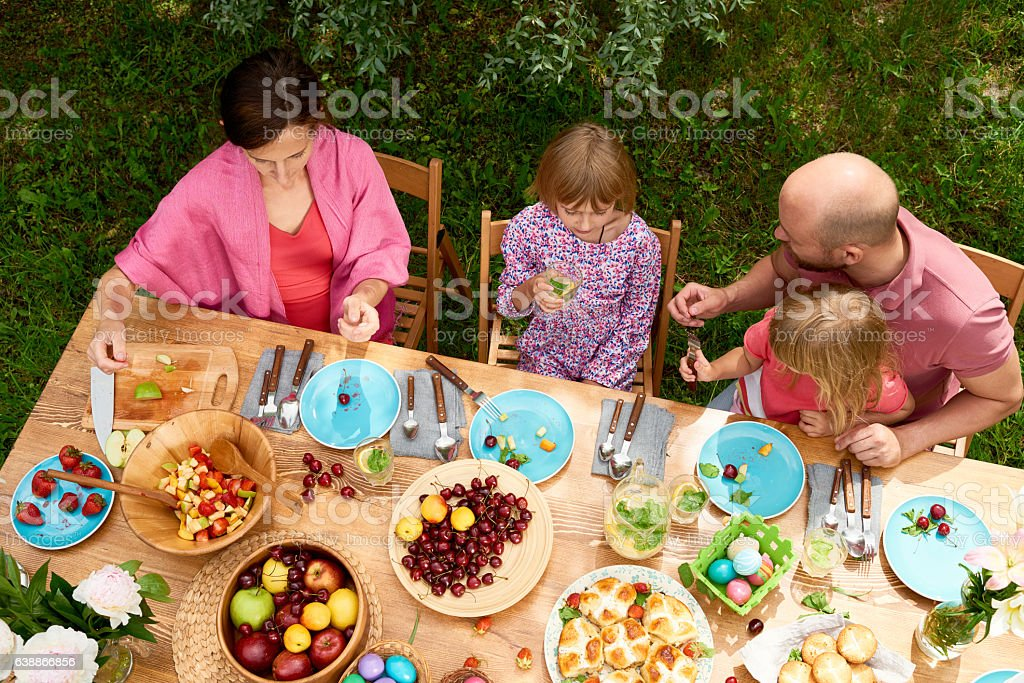 Outdoor family brunch stock photo