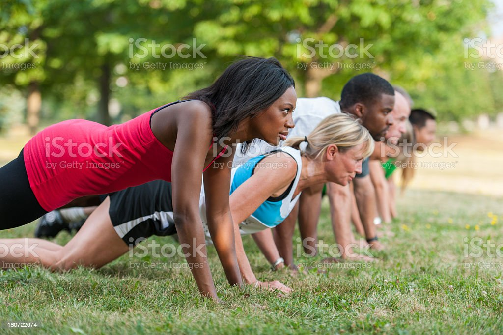 Outdoor Fitness Class royalty-free stock photo