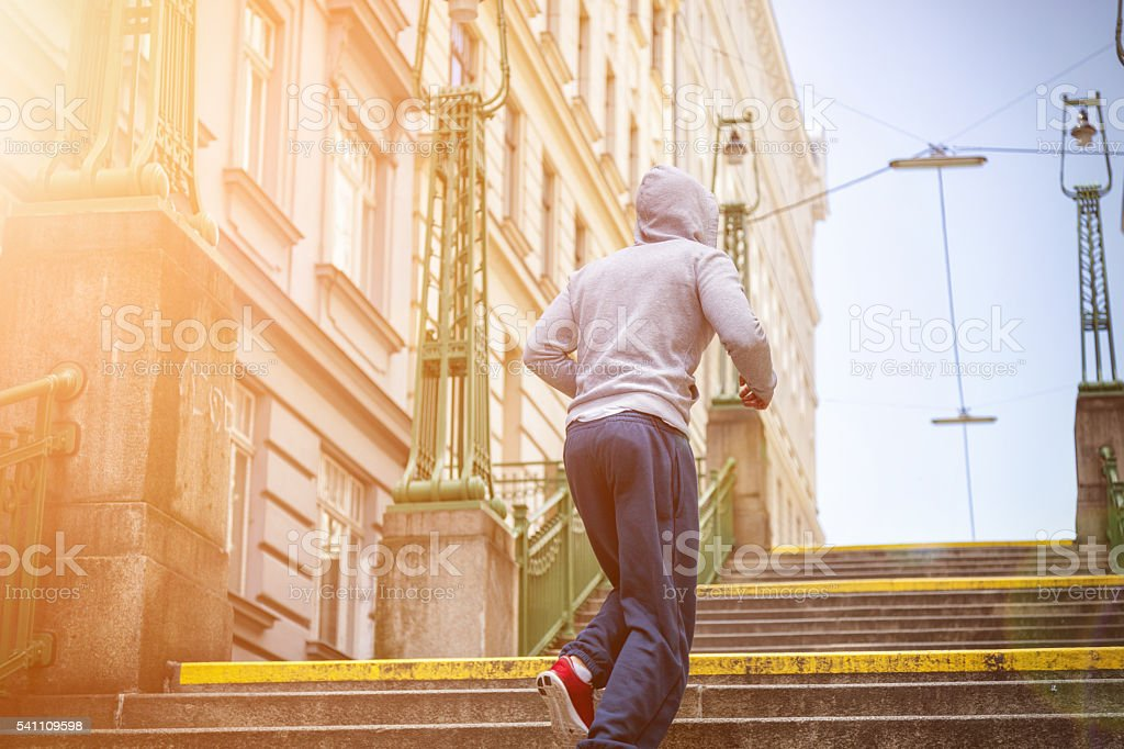 Outdoor fitness concept in the city stock photo
