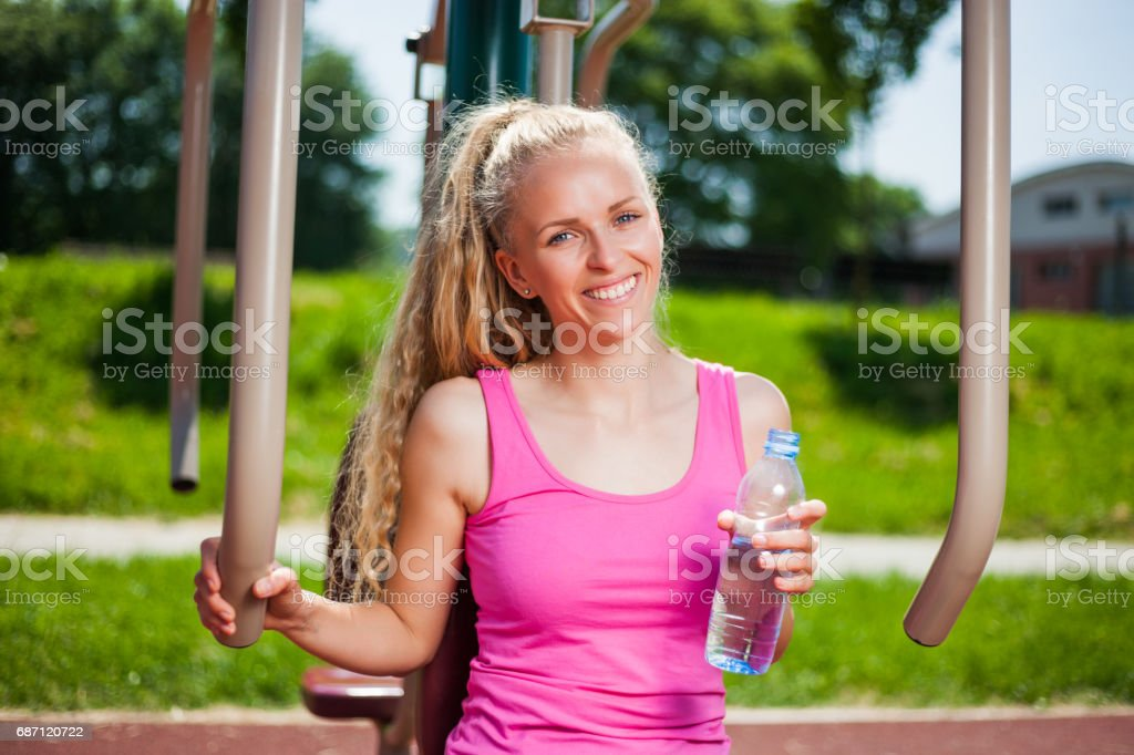 Outdoor fitness exercise stock photo