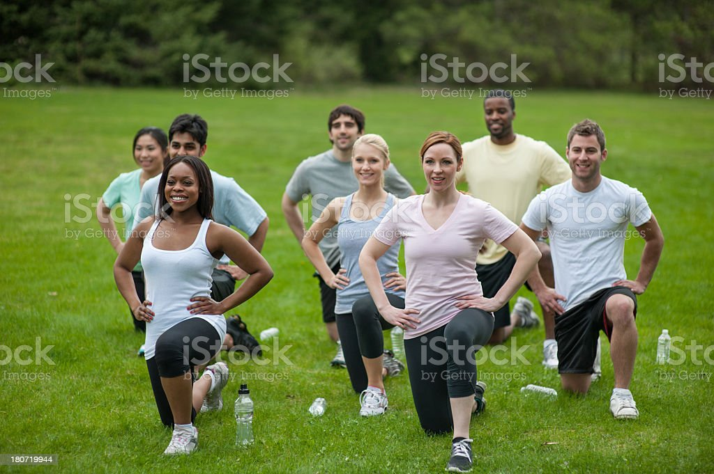 Outdoor Fitness Group stock photo