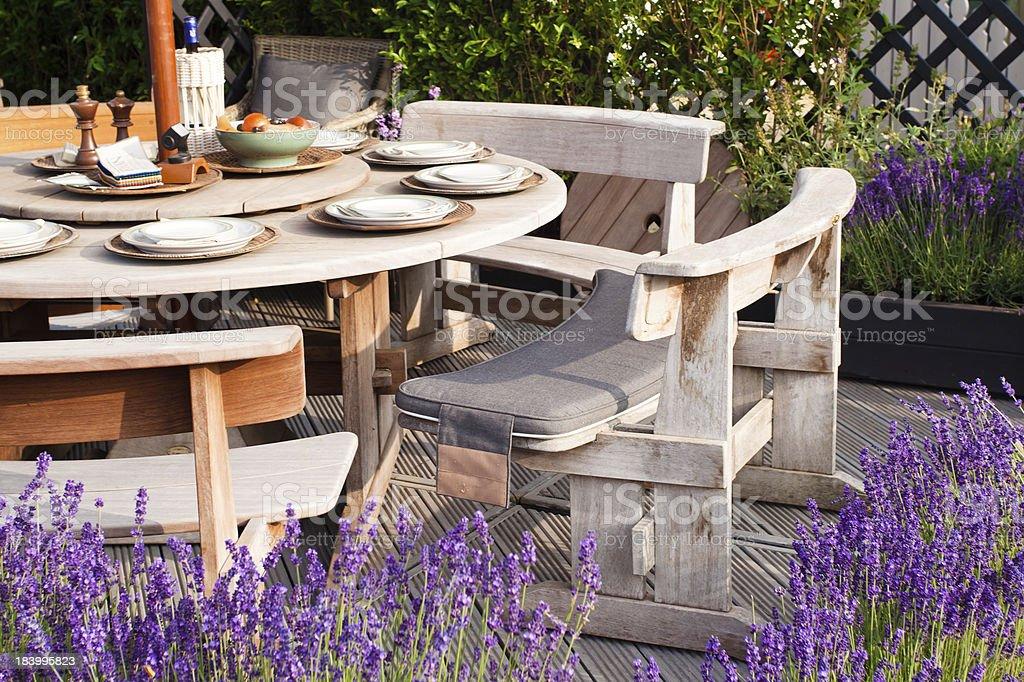 Outdoor food area stock photo