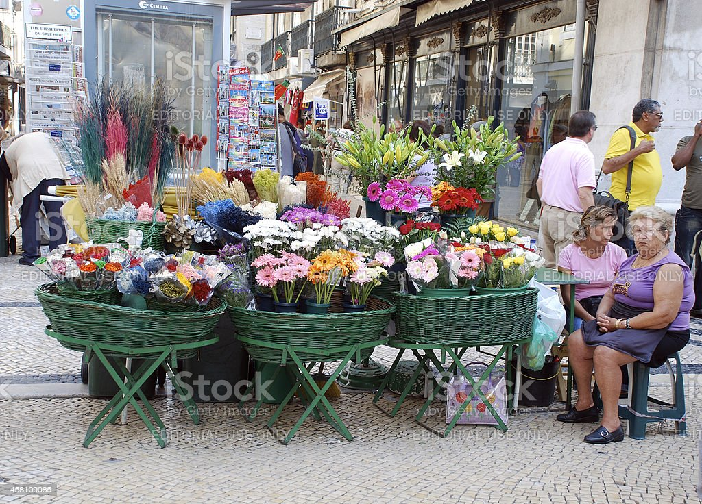 Outdoor fresh flower market on Lisbon main street(Portugal) royalty-free stock photo