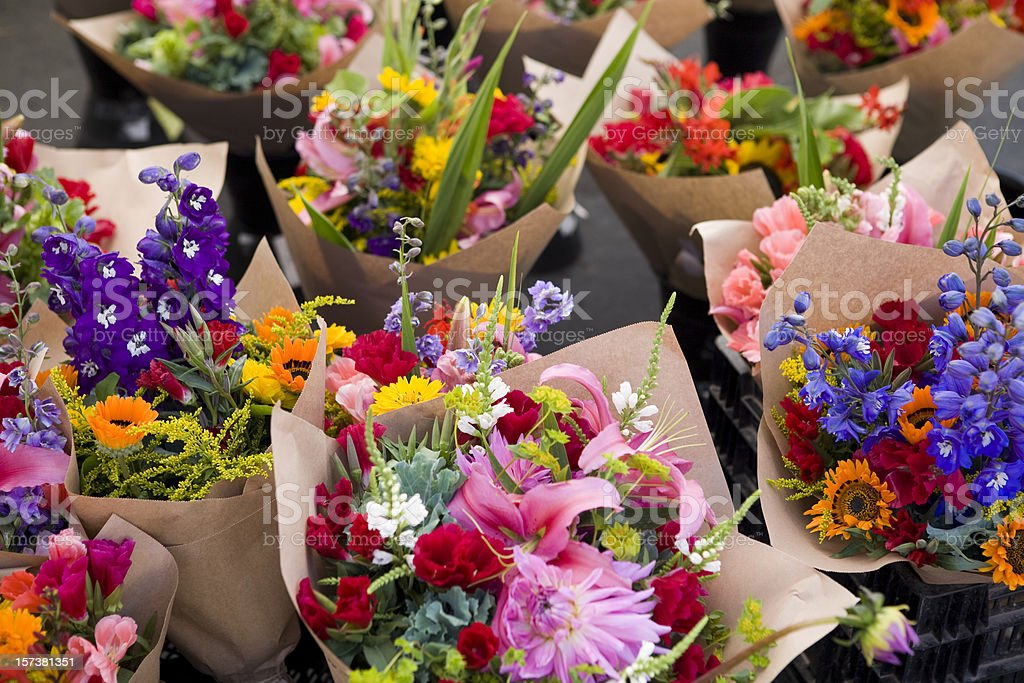 Outdoor fresh flower market royalty-free stock photo