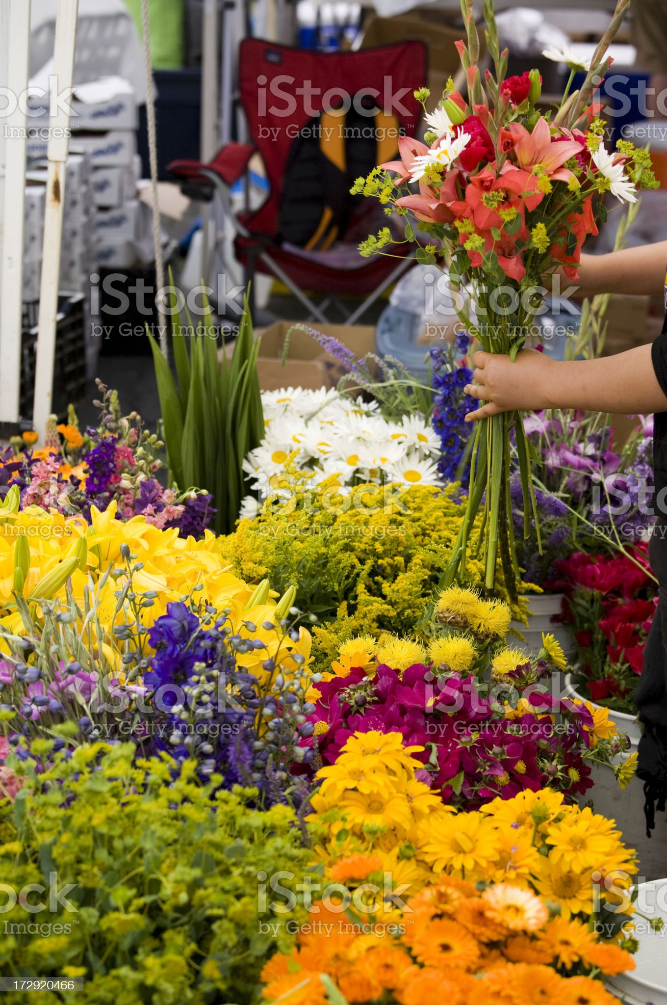 Outdoor fresh flower market royalty-free stock photo