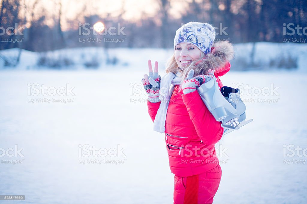 Outdoor fun for family Christmas vacation. stock photo