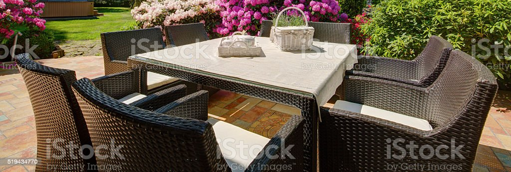Outdoor furniture set stock photo