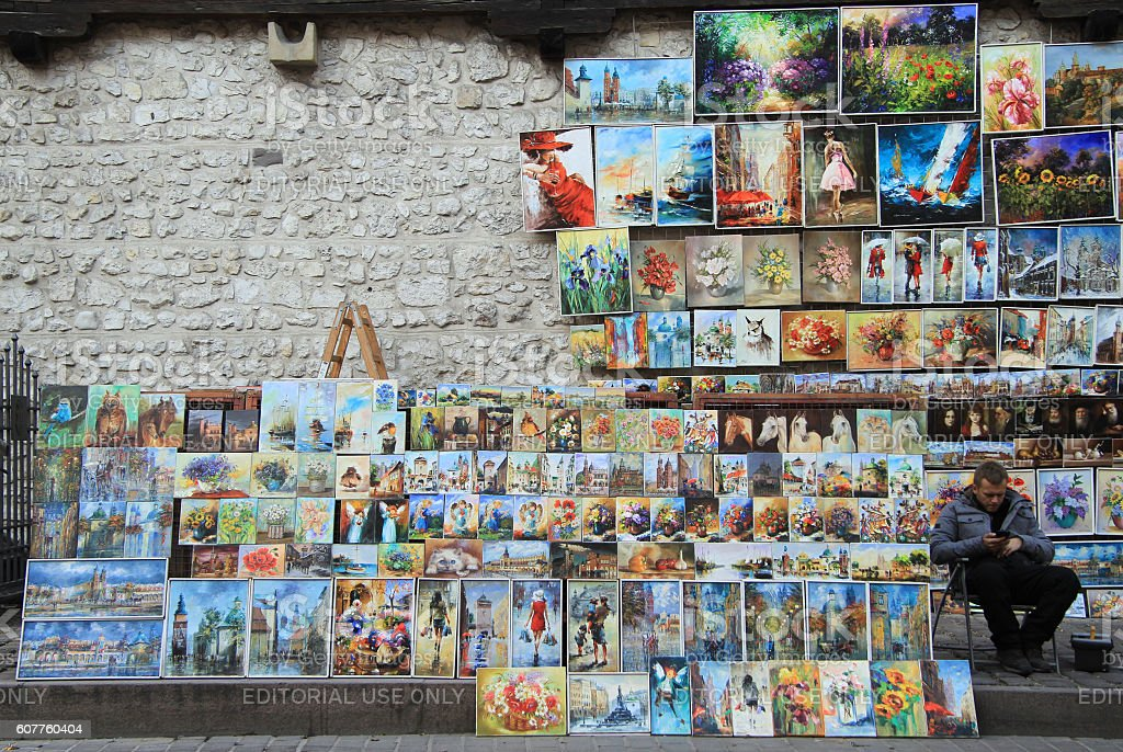 Outdoor gallery nearly the city walls of Krakow stock photo