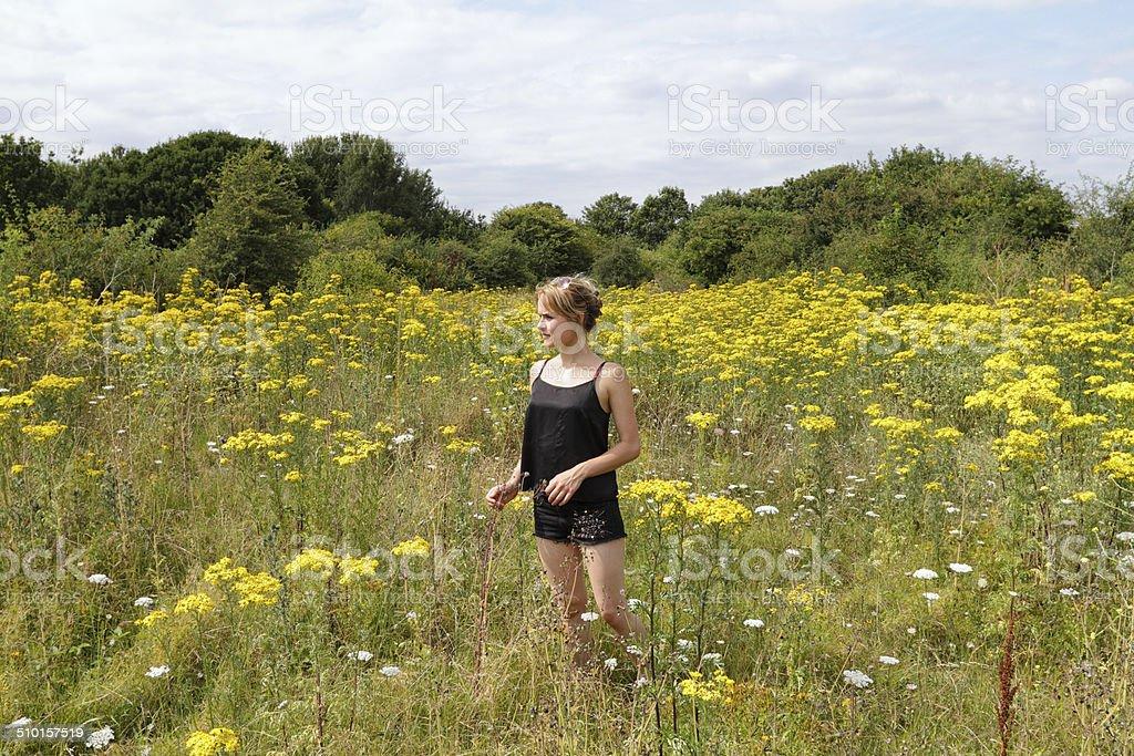 Outdoor girl in wildflower meadow yellow ragwort Mitcham Common stock photo