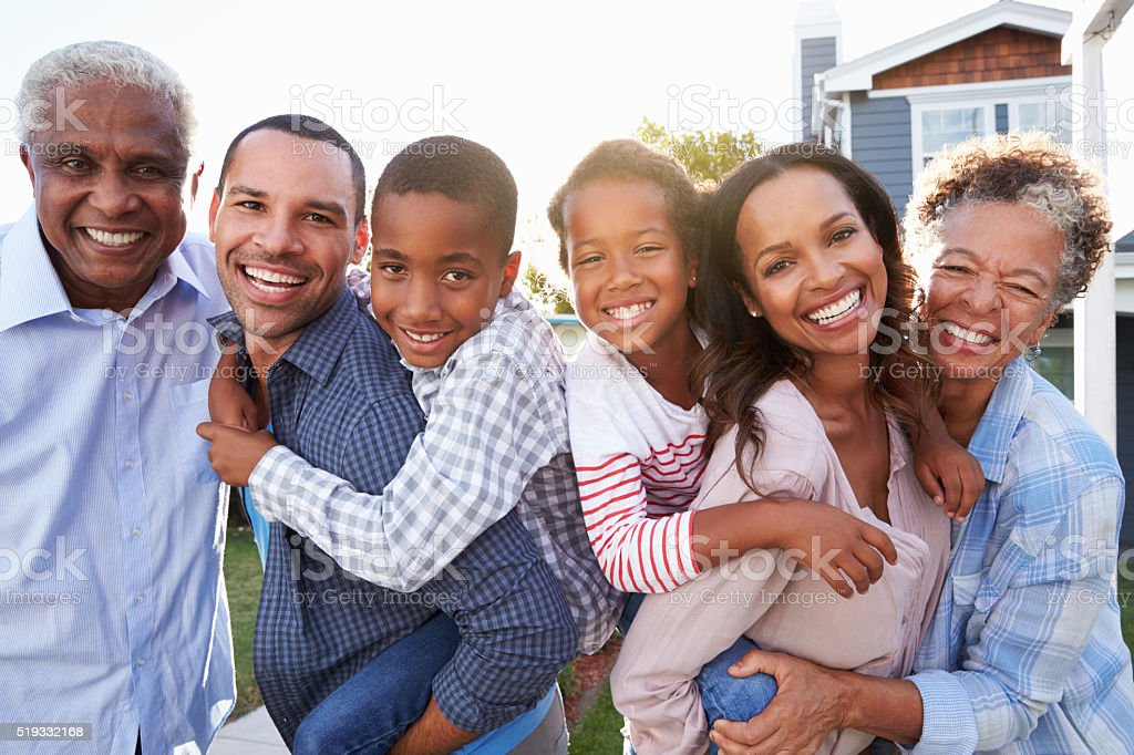 Outdoor group portrait of black multi generation family stock photo