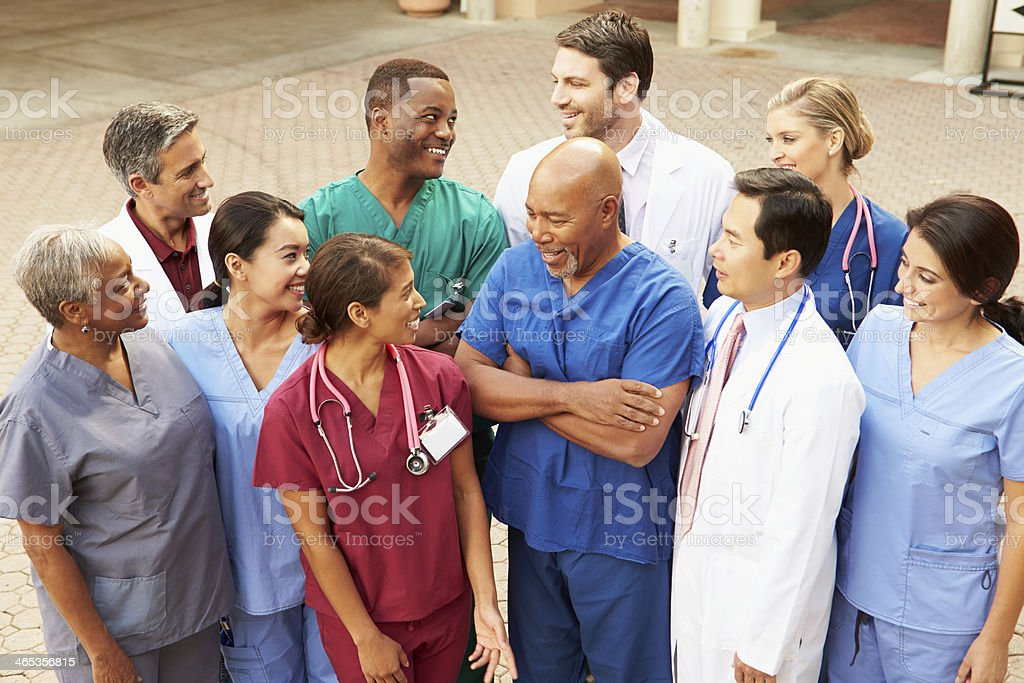 Outdoor Group Shot Of Medical Team stock photo