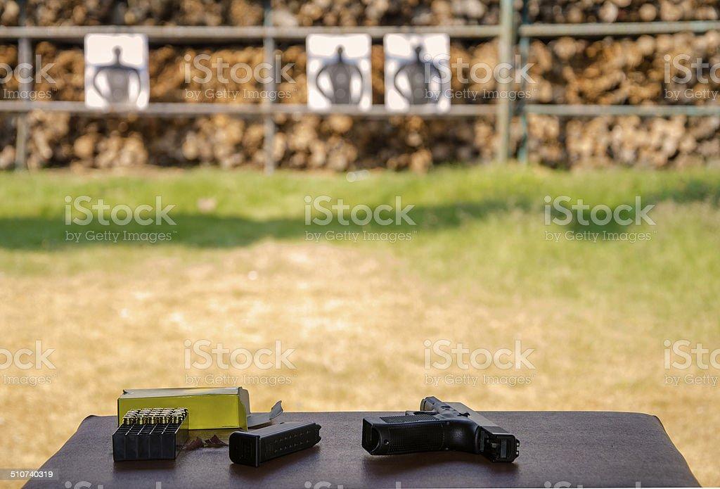Outdoor gun shooting of target range stock photo