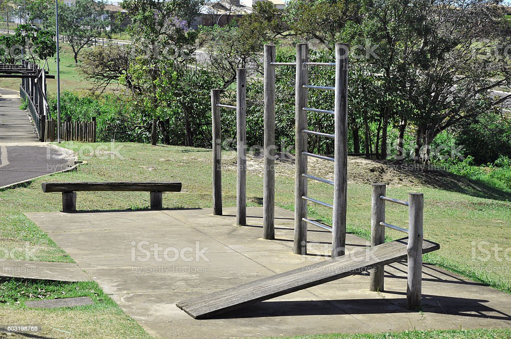 outdoor gym in a park stock photo
