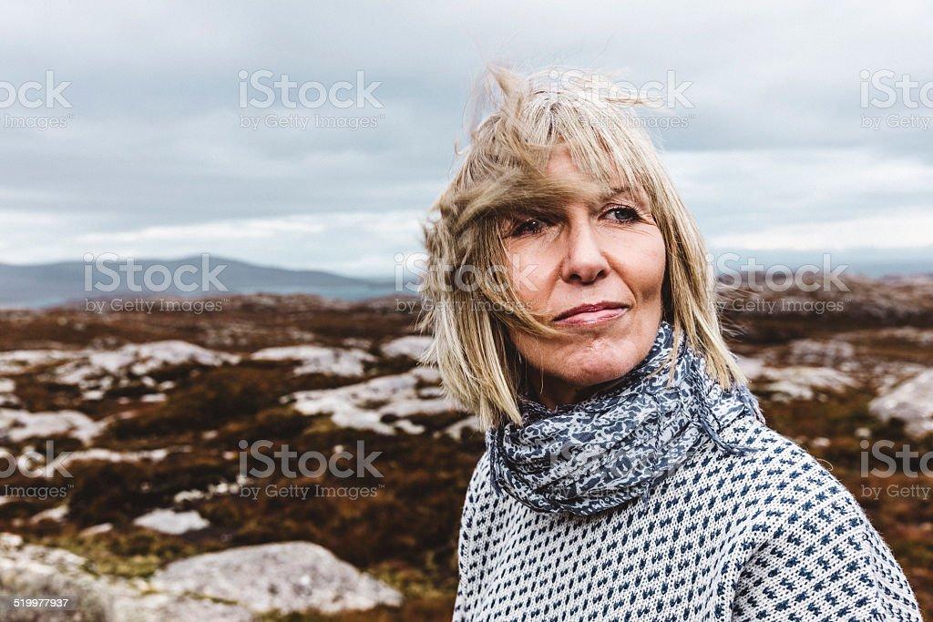 Outdoor Hebridean portrait of a woman stock photo