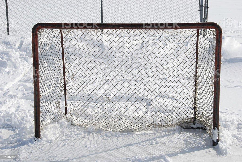 Outdoor hockey net stock photo