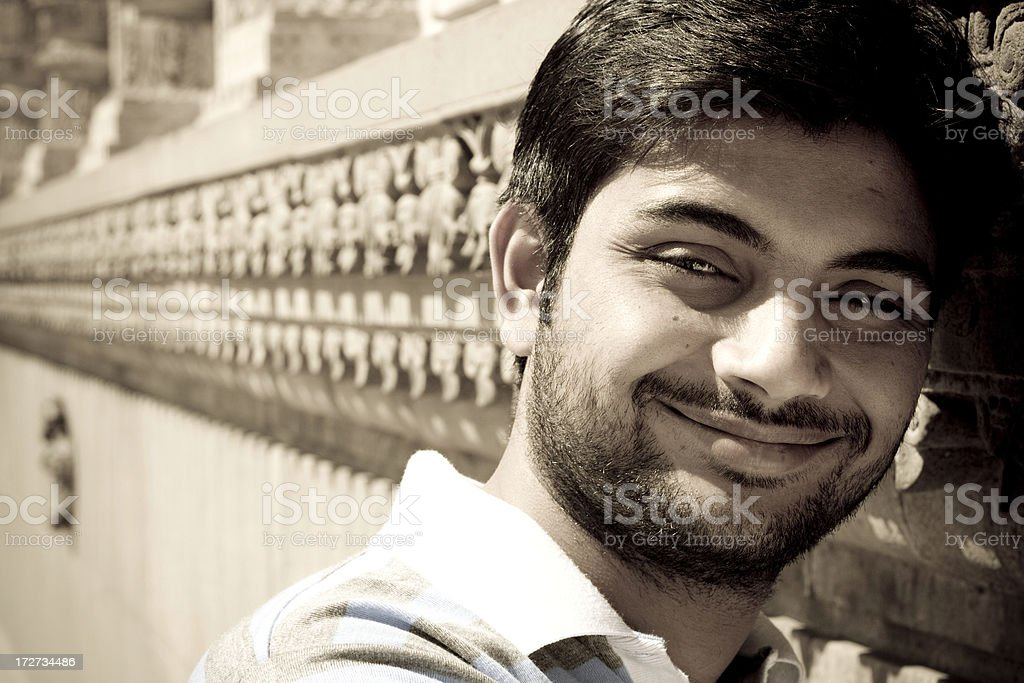 Outdoor Horizontal Portrait of Indian Youth Male in Natural Light royalty-free stock photo