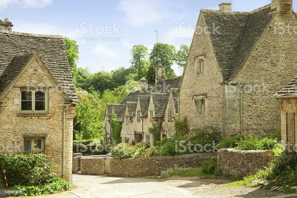 Outdoor image of houses in Bibury, England stock photo