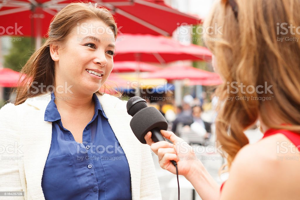 Outdoor Interview stock photo