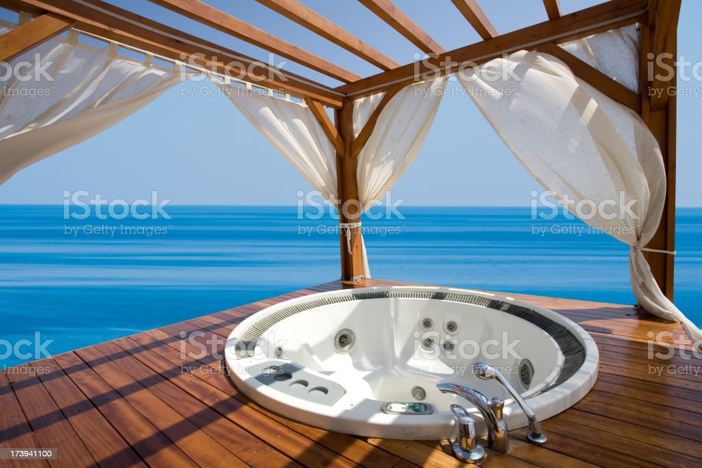 outdoor jacuzzi and sea view royalty-free stock photo