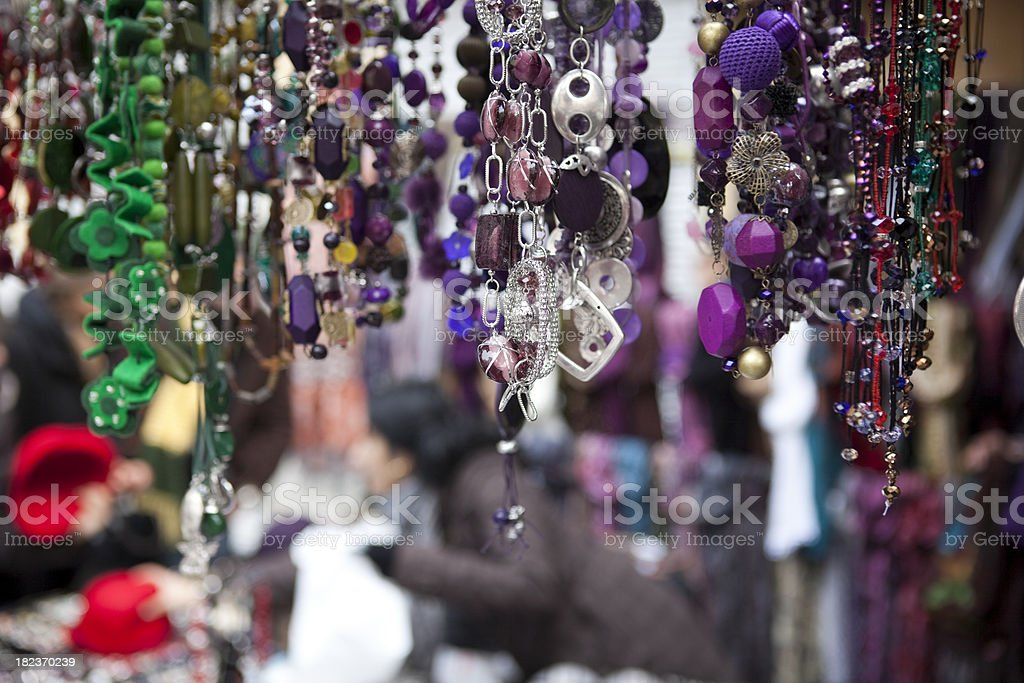 Outdoor Jewelry Store at Market in Madrid, Spain stock photo