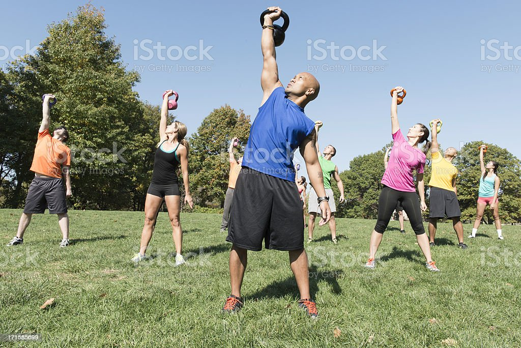 Outdoor Kettlebell Workout royalty-free stock photo