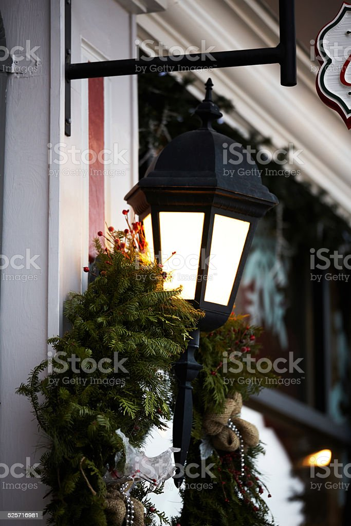 Outdoor Lamp Christmas Wreath stock photo