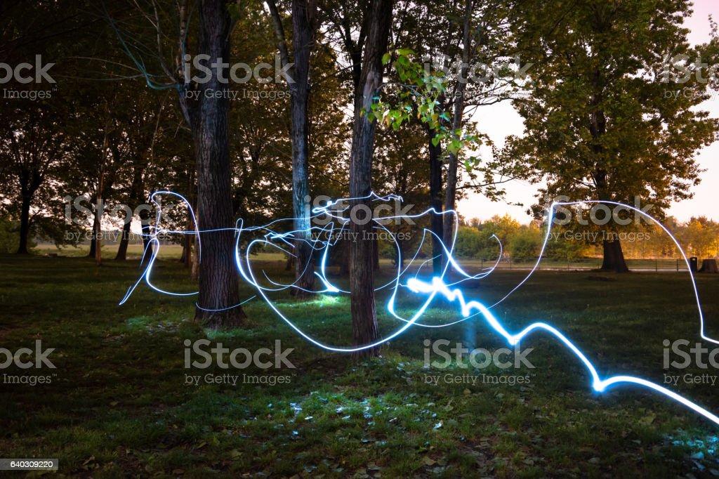 Outdoor light painting stock photo