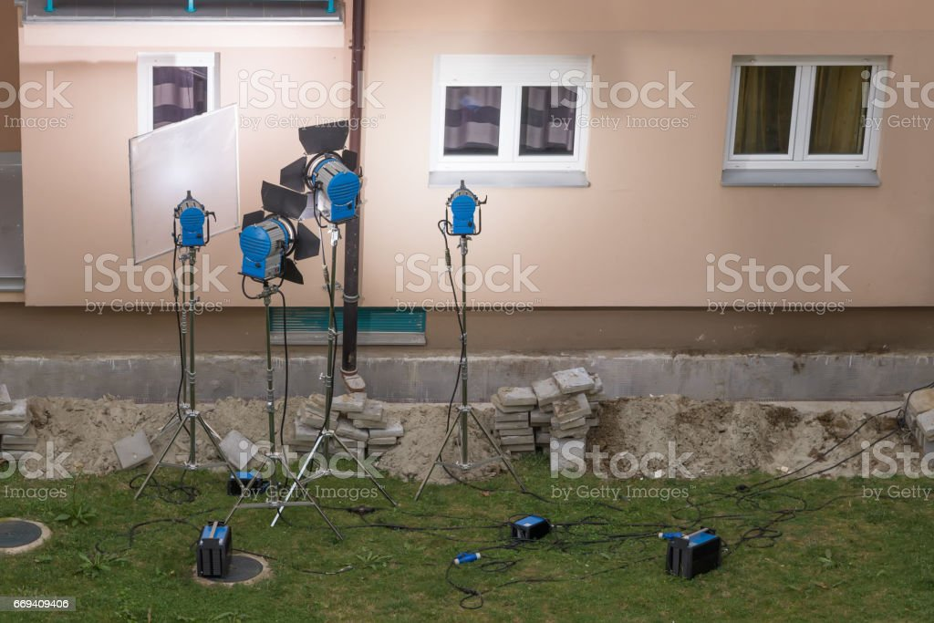 outdoor light setup for filming stock photo