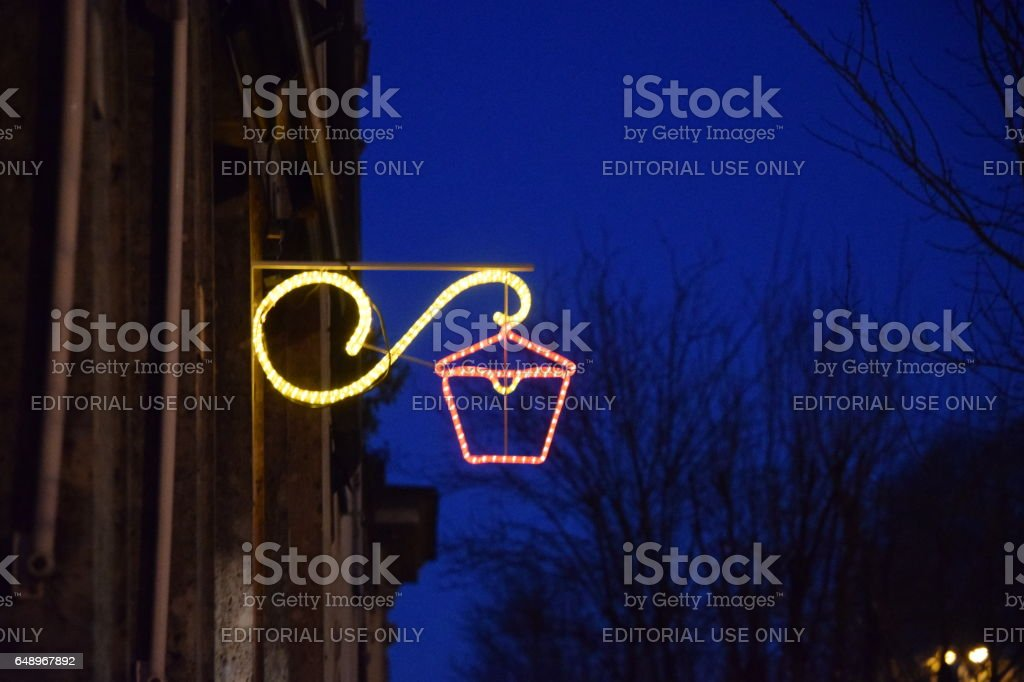 Outdoor lighting christmas lantern stock photo