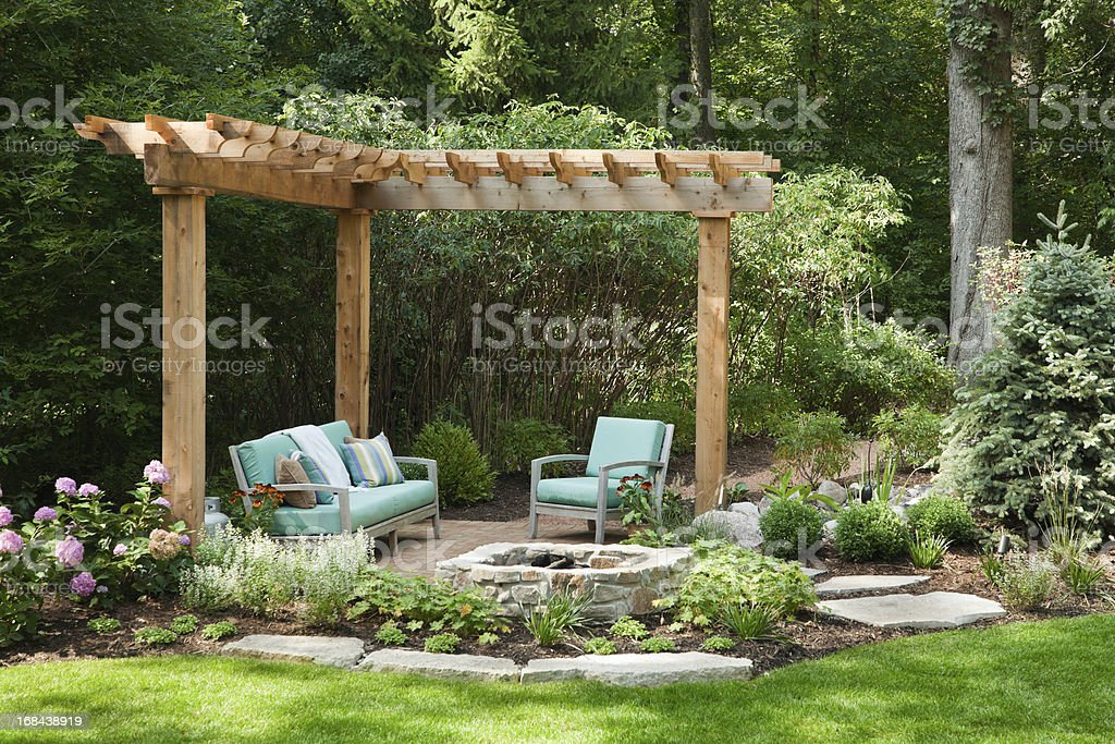 Outdoor living space with portcullis. stock photo