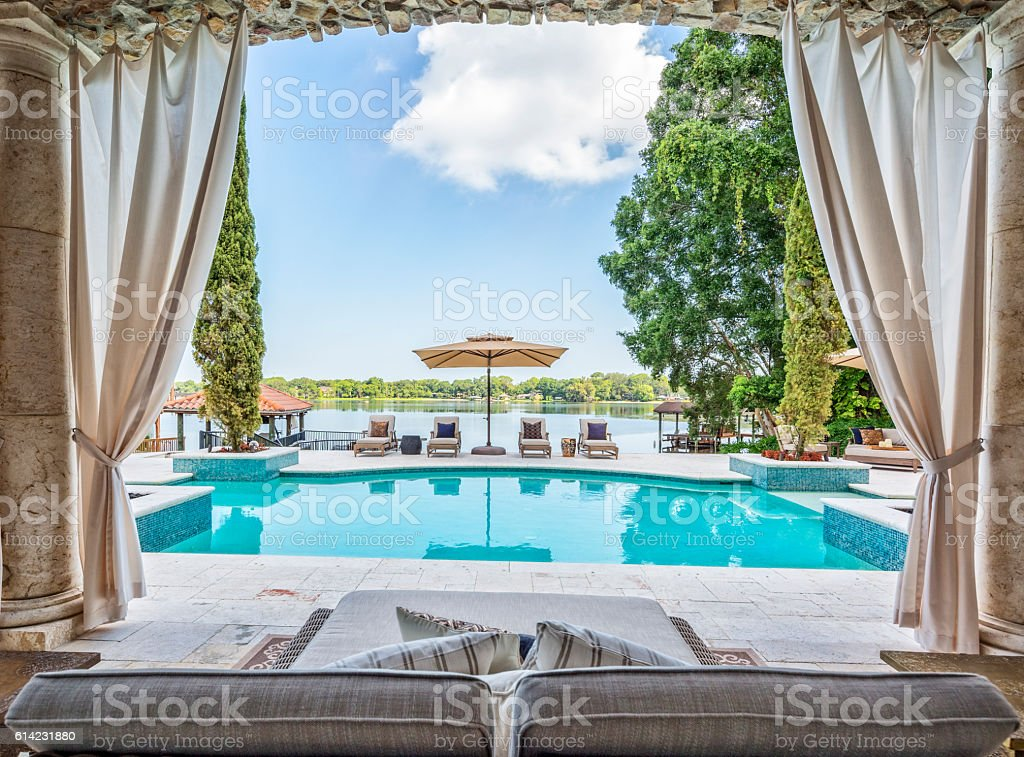 Outdoor Living with a Beautiful View stock photo