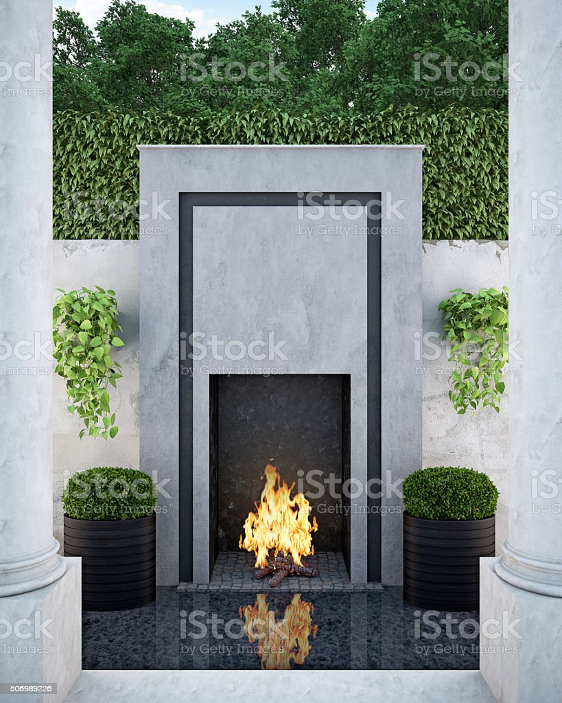 Outdoor Lounge Fireplace stock photo