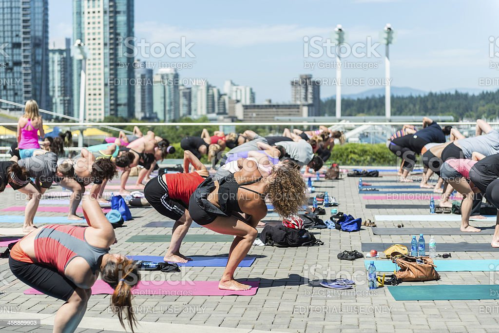 Outdoor Lunch Hour Yoga royalty-free stock photo