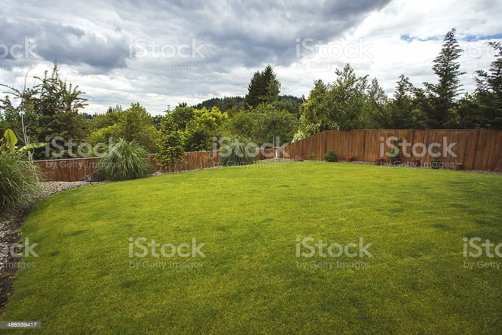 Outdoor Luxury Home Large Grass Backyard stock photo