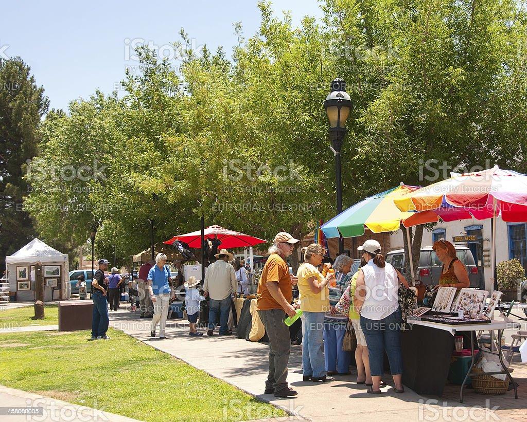 Outdoor Market at Old Mesilla, New Mexico stock photo