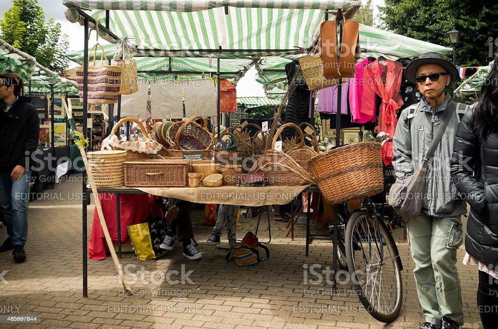 Outdoor market craft stall stock photo