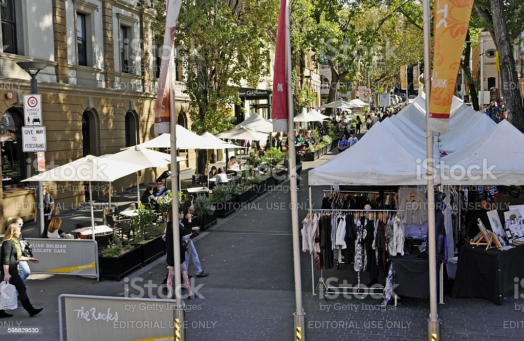 outdoor market the Rocks stock photo
