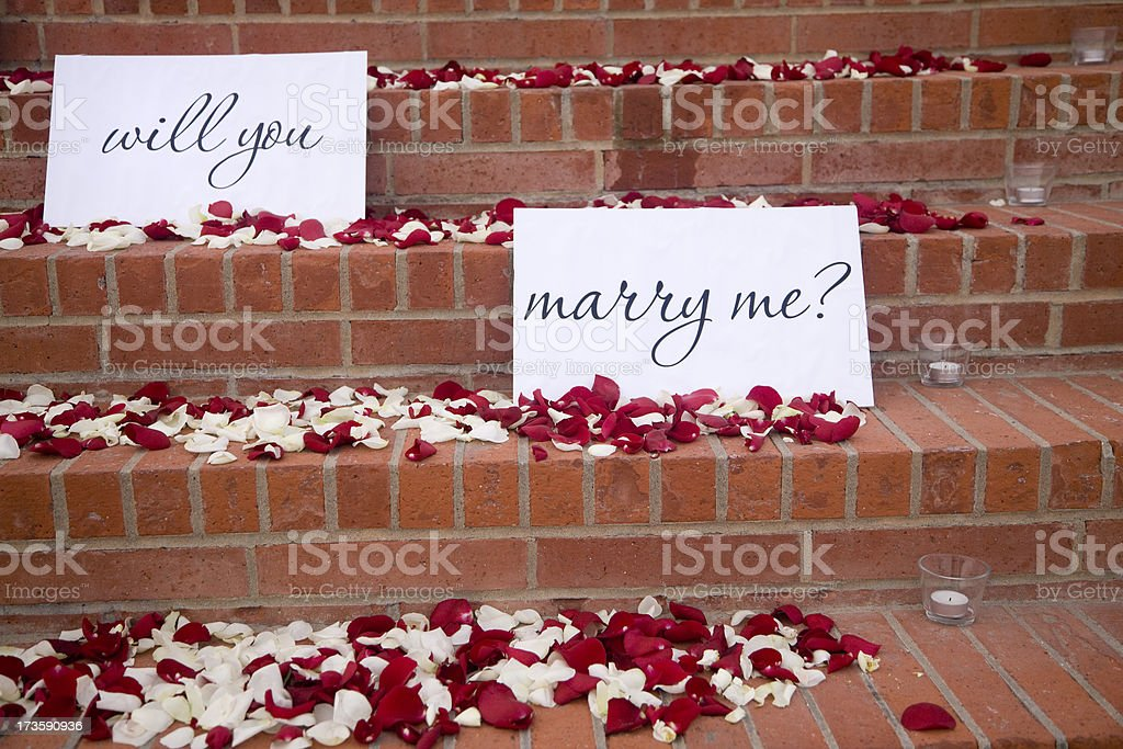 Outdoor Marriage Proposal, Romance, Love, Flower, Petal, Rose, Surprise, Will-You-Marry-Me royalty-free stock photo