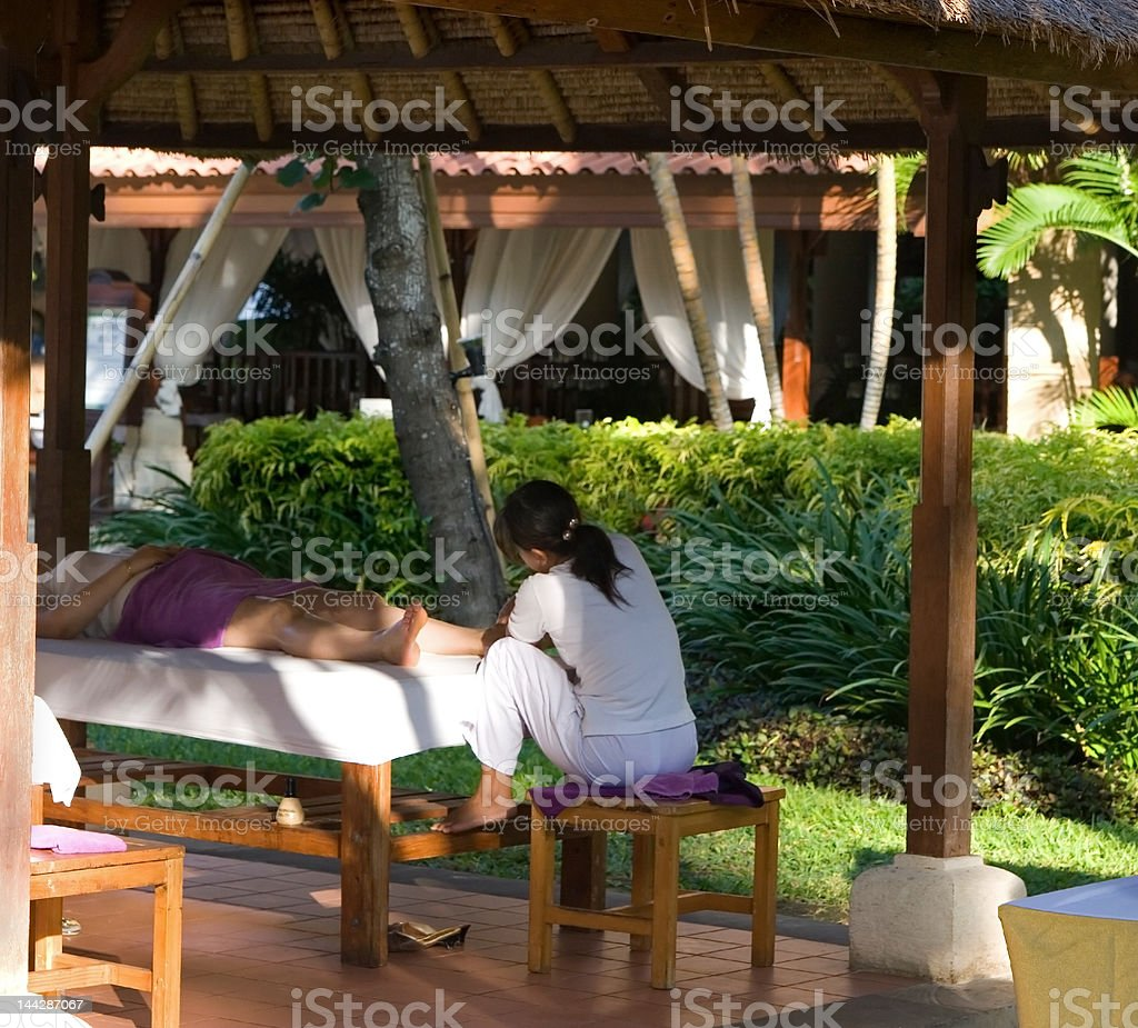 Outdoor massage in tropicalscenery royalty-free stock photo
