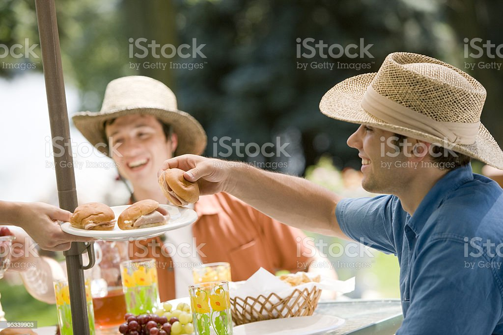Outdoor meal with friends royalty-free stock photo