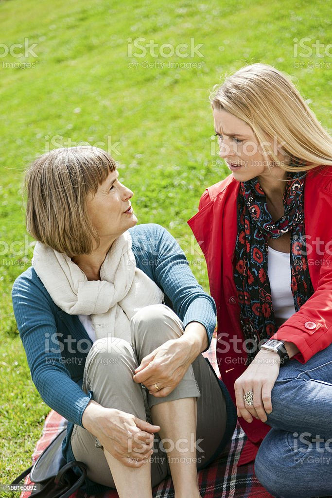 Outdoor Mother Daughter Chat royalty-free stock photo