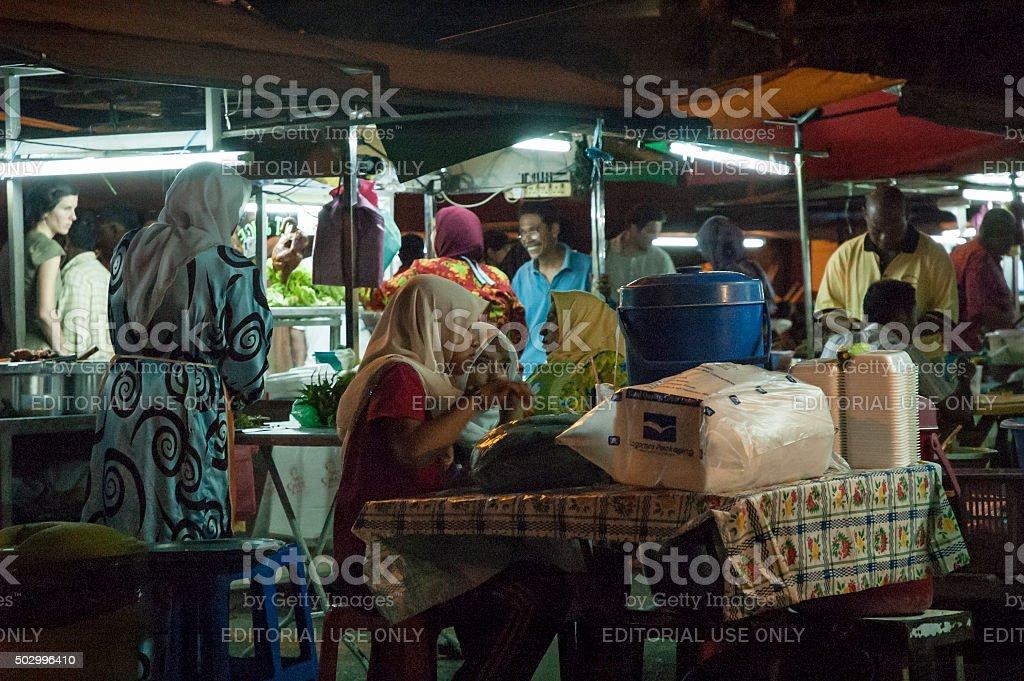 Outdoor Night Market In Kota Baharu, Malaysia stock photo