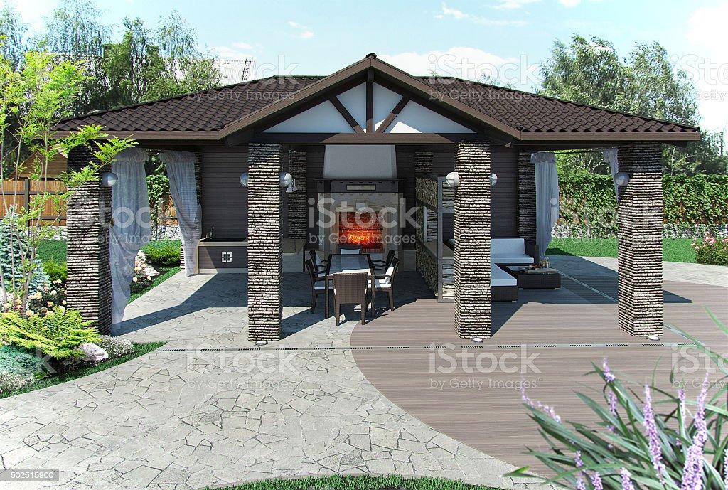 Outdoor patio garden pavilion, 3d render stock photo