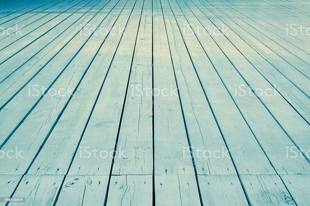 Outdoor Patio Or Veranda Blue Wooden Floor In Perspective View stock photo