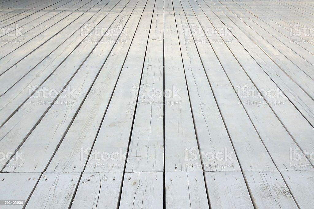 Outdoor Patio Or Veranda White Wooden Floor In Perspective View stock photo