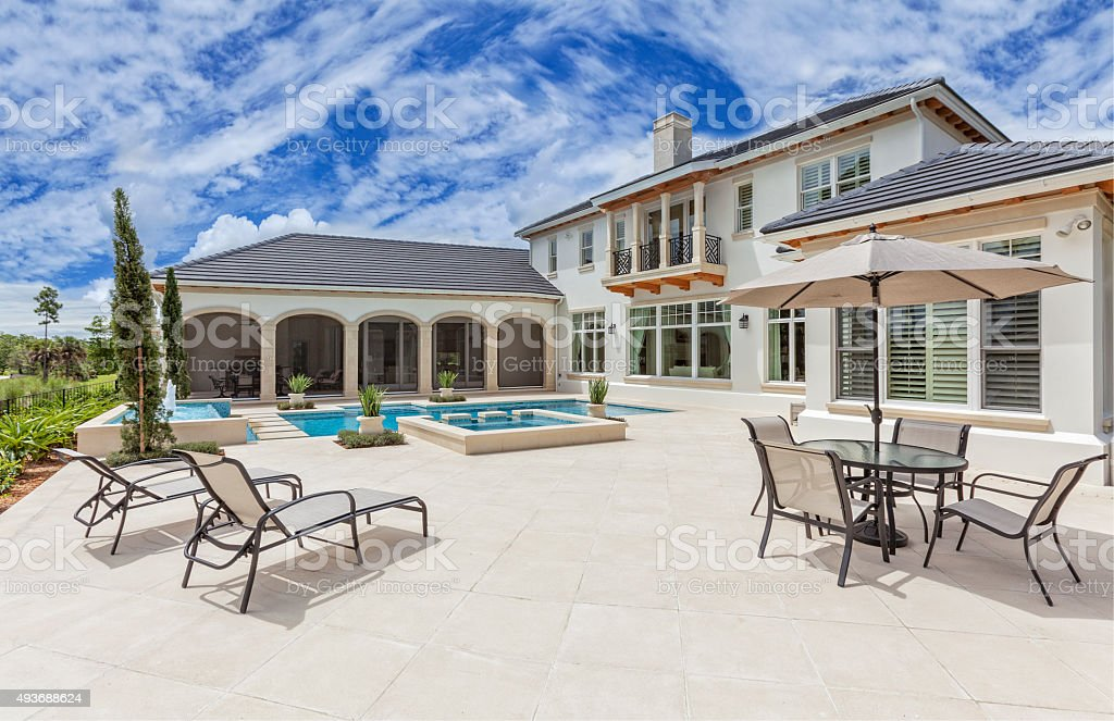Outdoor Patio with Furniture and Swimming Pool at Estate Home stock photo