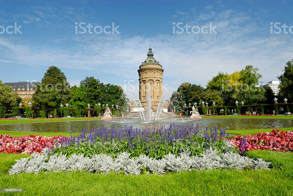 Outdoor photo Mannheim fountain with blooming flowers stock photo